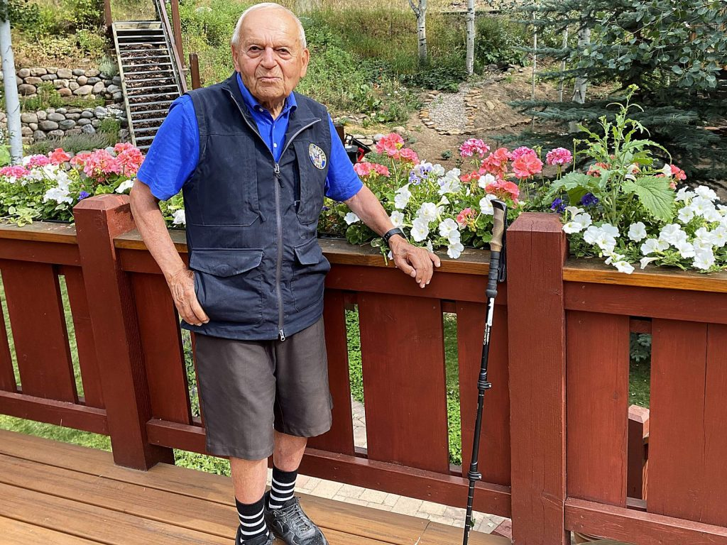 Harvey Simpson in Vail on August 22, 2020. Simpson, 94, skied 30 days during the abbreviated 2019-2020 season.