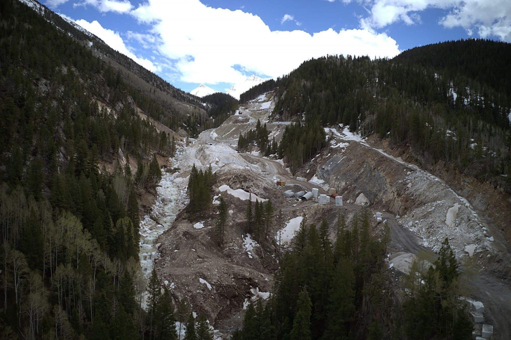 Yule Creek, seen here in its new channel on the left side of the photo in May 2020, was diverted by quarry operators to make way for a road, seen here on the right side of the photo. Pitkin County groups are concerned this relocation could have downstream impacts.