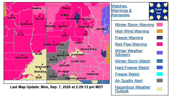 Watchings and warnings issued as of Monday, Sept. 7, 2020, by the National Weather Service.