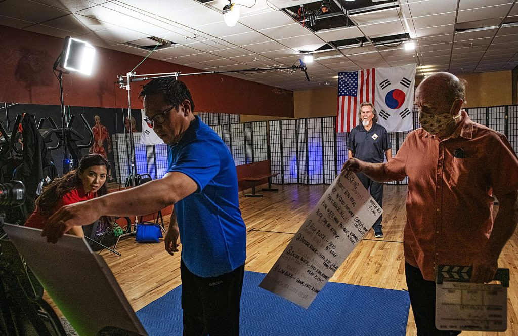 Master Doug Fuechsel, center, waits to begin recording another episode of an internet Taekwondo series at Jean Robert's Gym in Aspen on Thursday, Sept. 17, 2020. (Kelsey Brunner/The Aspen Times)