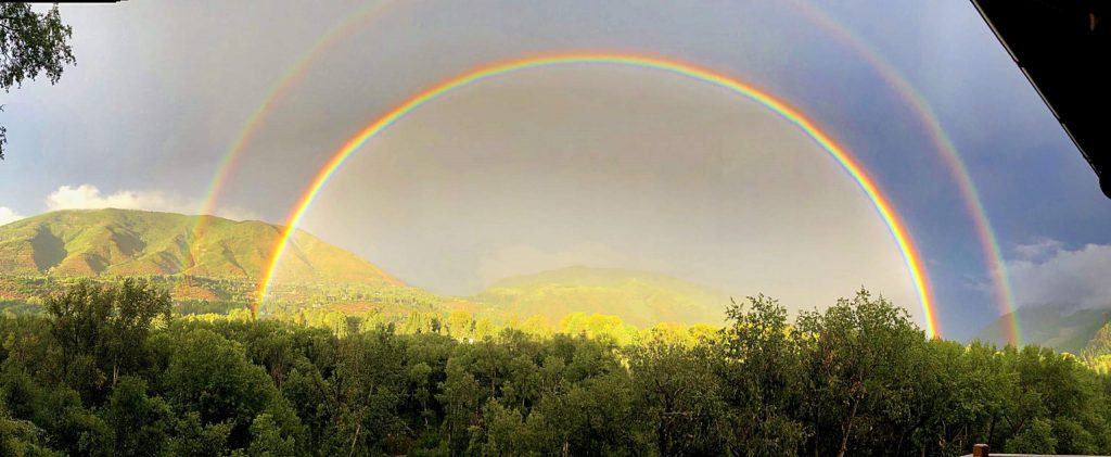The thunderstorm in the early evening of Aug. 29 in Aspen ushered in vibrant colors as well as this double rainbow stretching from Red Mountain to Shadow Mountain.