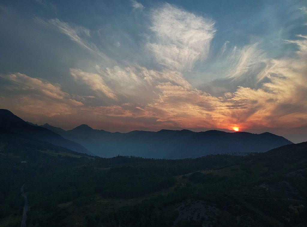 The smoke from the wildfires on Colorado's Western Slope translated into a spectacular sunset Aug. 13. on Capitol Peak.