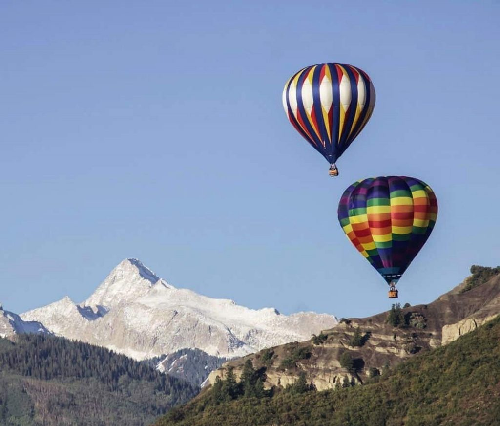 Freshly covered peaks and two hot-air balloons made for a picture-perfect moment during last weekend's 45th annual Snowmass Balloon Festival.