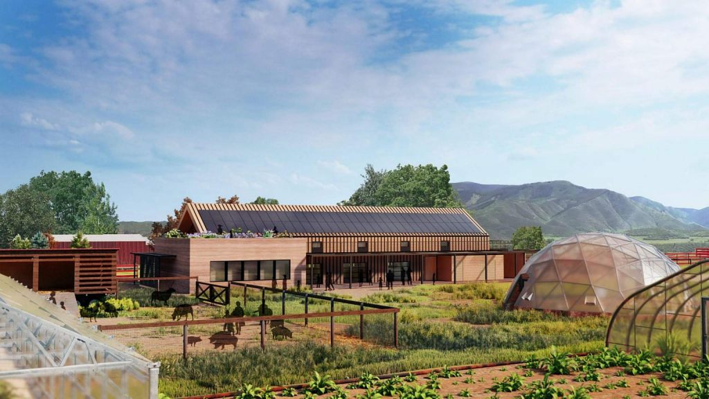 This image shows the proposed learning center-farm hub planned at the Farm Collaborative's site at Cozy Point Ranch.