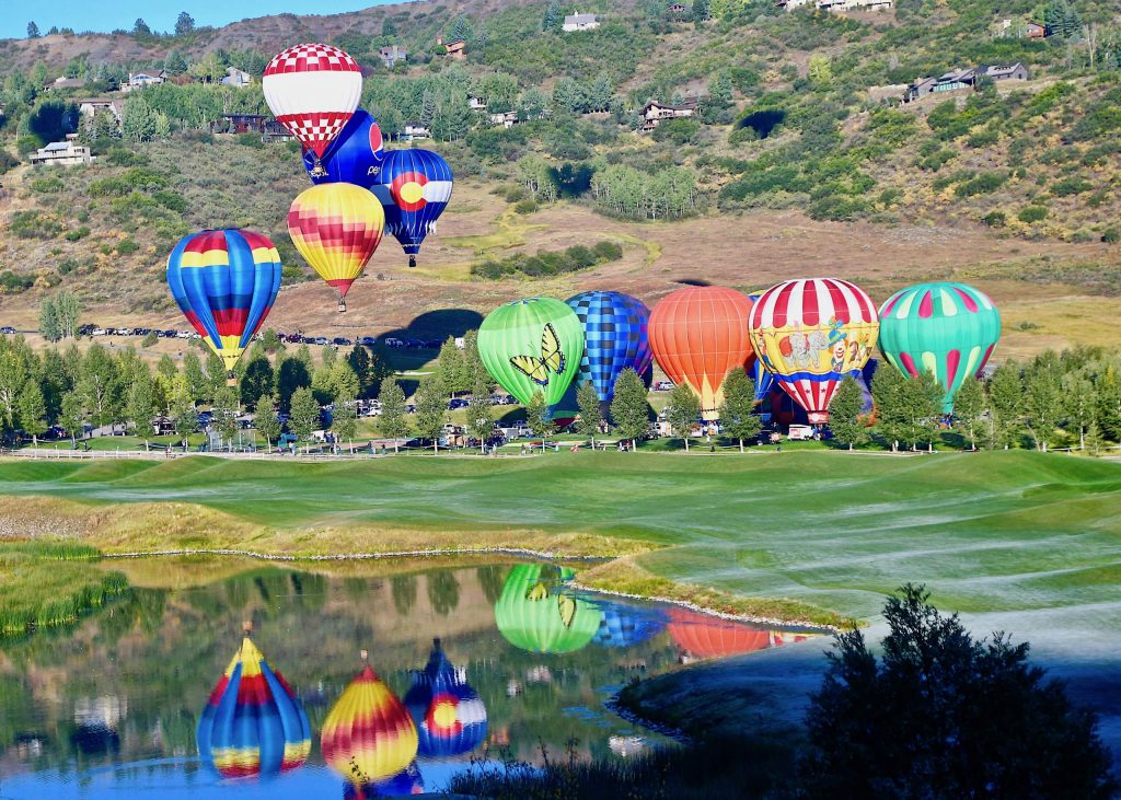 Balloons prepare to rise during the Snowmass Balloon Festival on Saturday, Sept. 12, 2020, in Snowmass Village. (Photo by Austin Colbert/The Aspen Times)