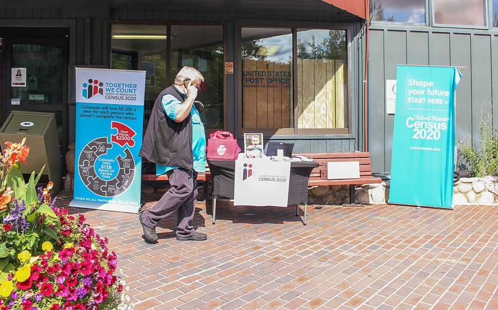 A table with information and local officials to help Snowmass residents complete their 2020 U.S. Census surveys sits outside of Clark's Market on Sept. 1, 2020.
