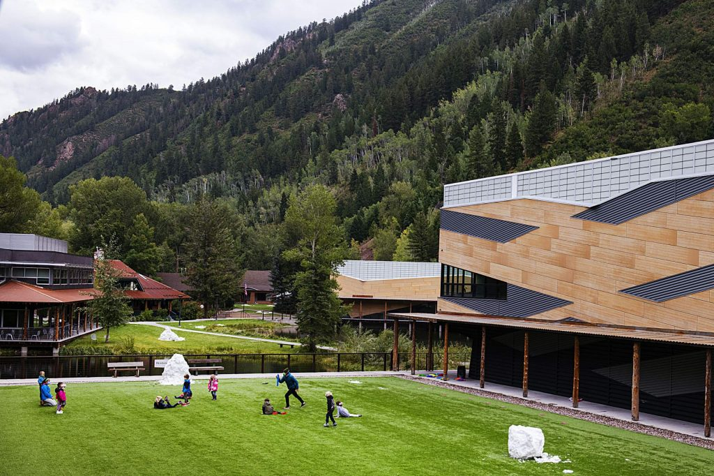 A kindergarten class plays active games in a courtyard at Aspen Country Day School on Thursday, Sept. 10, 2020. (Kelsey Brunner/The Aspen Times)