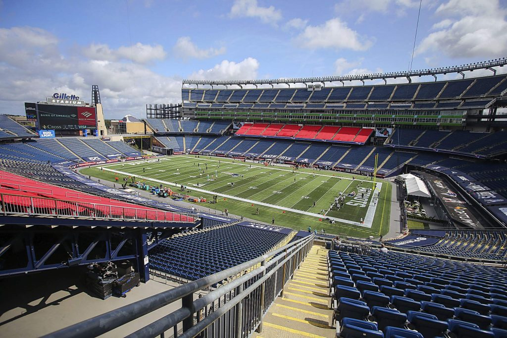 General View of Gillette Stadium prior to an NFL football game between the Miami Dolphins and New England Patriots, Sunday, Sept. 13, 2020, in Foxborough, Mass. (AP Photo/Stew Milne)