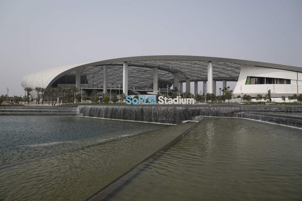 The Exterior of SoFi Stadium is shown before the Los Angeles Rams play the Dallas Cowboys in an NFL football game Sunday, Sept. 13, 2020, in Inglewood, Calif. (AP Photo/Jae C. Hong )