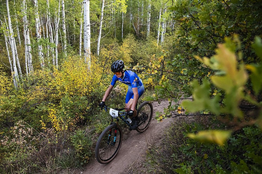 Markus Dewire competes in the final Aspen Cycling Club race up Airline Trail in Sky Mountain Park on Wednesday, Sept. 16, 2020. There were 48 racers signed up to compete. The club organized the race to have 4 racers released every minute to help space out the competitors. (Kelsey Brunner/The Aspen Times)