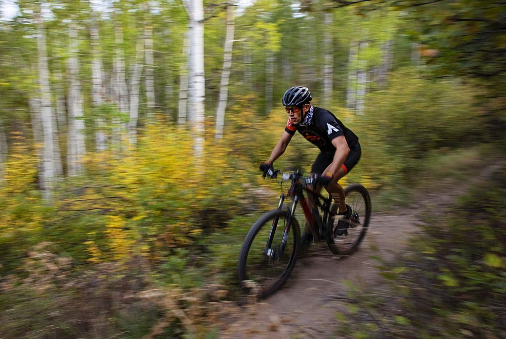 John Cibulsky competes in the final Aspen Cycling Club race up Airline Trail in Sky Mountain Park on Wednesday, Sept. 16, 2020. There were 48 racers signed up to compete. The club organized the race to have 4 racers released every minute to help space out the competitors. (Kelsey Brunner/The Aspen Times)