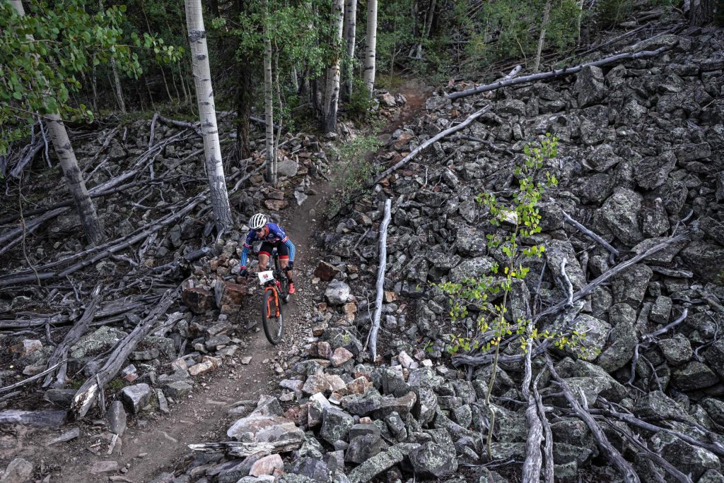 A competitor takes part in the Grand Traverse mountain bike race on Sunday, Sept. 6, 2020, in Crested Butte.