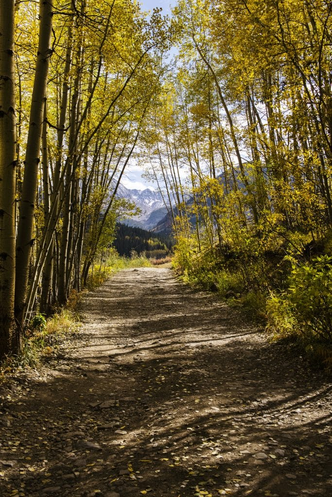 The Elk Mountains peek into view at the end of a dirt road in Aspen on Wednesday, Sept. 23, 2020.
