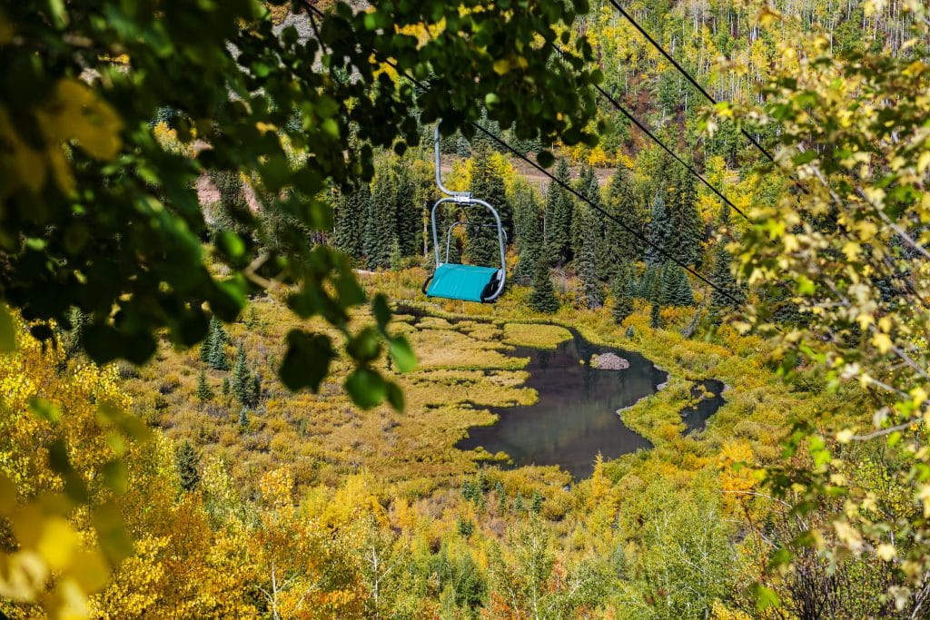 A campground lift chair hangs covered before the start of the winter season in Snowmass on Thursday, Sept. 24, 2020.