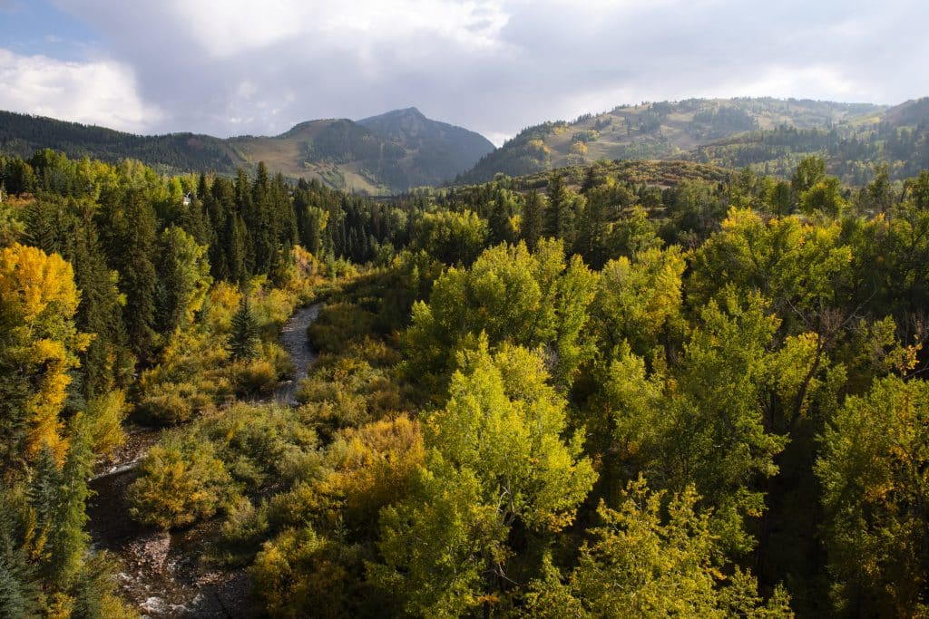 Maroon Creek dissects an autumn landscape in Aspen on Wednesday, Sept. 23, 2020.
