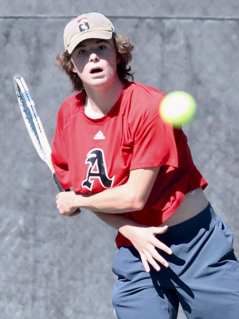 Aspen High School's No. 2 singles player Alex Mosher competes against Fruita on Tuesday, Sept. 1, 2020, at Aspen Tennis Club. (Photo by Austin Colbert/The Aspen Times)