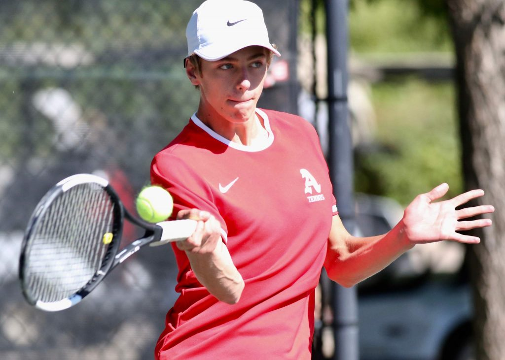 Aspen High School's No. 1 singles player Christian Kelly competes against Fruita on Tuesday, Sept. 1, 2020, at Aspen Tennis Club. (Photo by Austin Colbert/The Aspen Times)