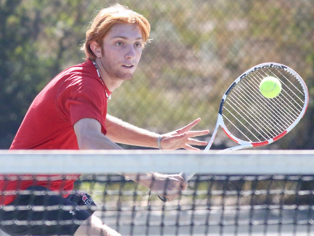 Aspen High School's No. 1 doubles player Lukee Tralins competes against Fruita on Tuesday, Sept. 1, 2020, at Aspen Tennis Club. (Photo by Austin Colbert/The Aspen Times)