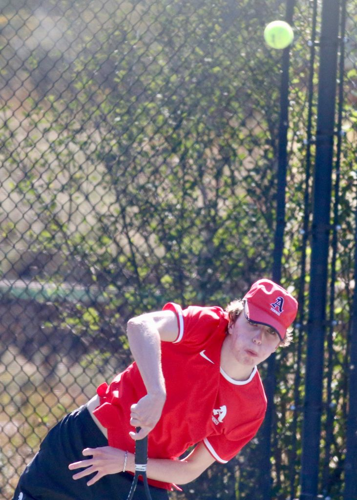 Aspen High School's No. 1 doubles player Bryce Cordts-Pearce competes against Fruita on Tuesday, Sept. 1, 2020, at Aspen Tennis Club. (Photo by Austin Colbert/The Aspen Times)