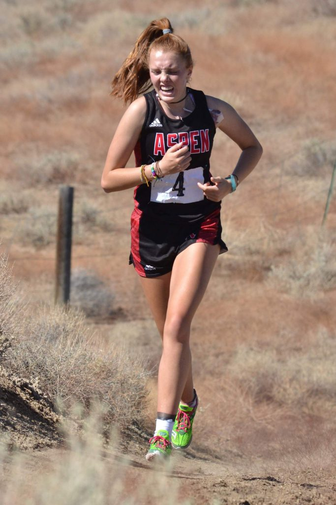 Aspen High School senior Edie Sherlock competes at a cross country meet on Saturday, Sept. 5, 2020, in Hotchkiss.