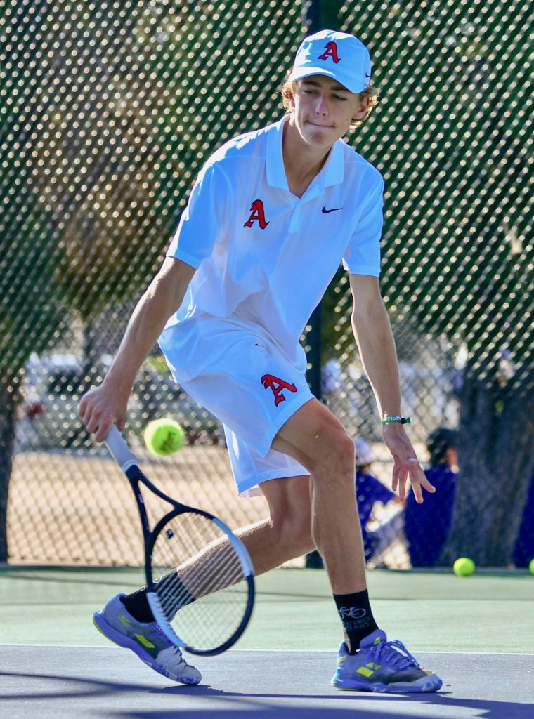 Aspen High School's Christian Kelly competes at the Class 4A state tennis tournament on Friday, Sept. 25, 2020, in Pueblo.