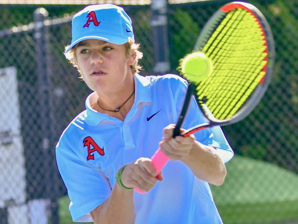 Aspen High School's Chase Kelly competes at the Class 4A state tennis tournament on Friday, Sept. 25, 2020, in Pueblo.