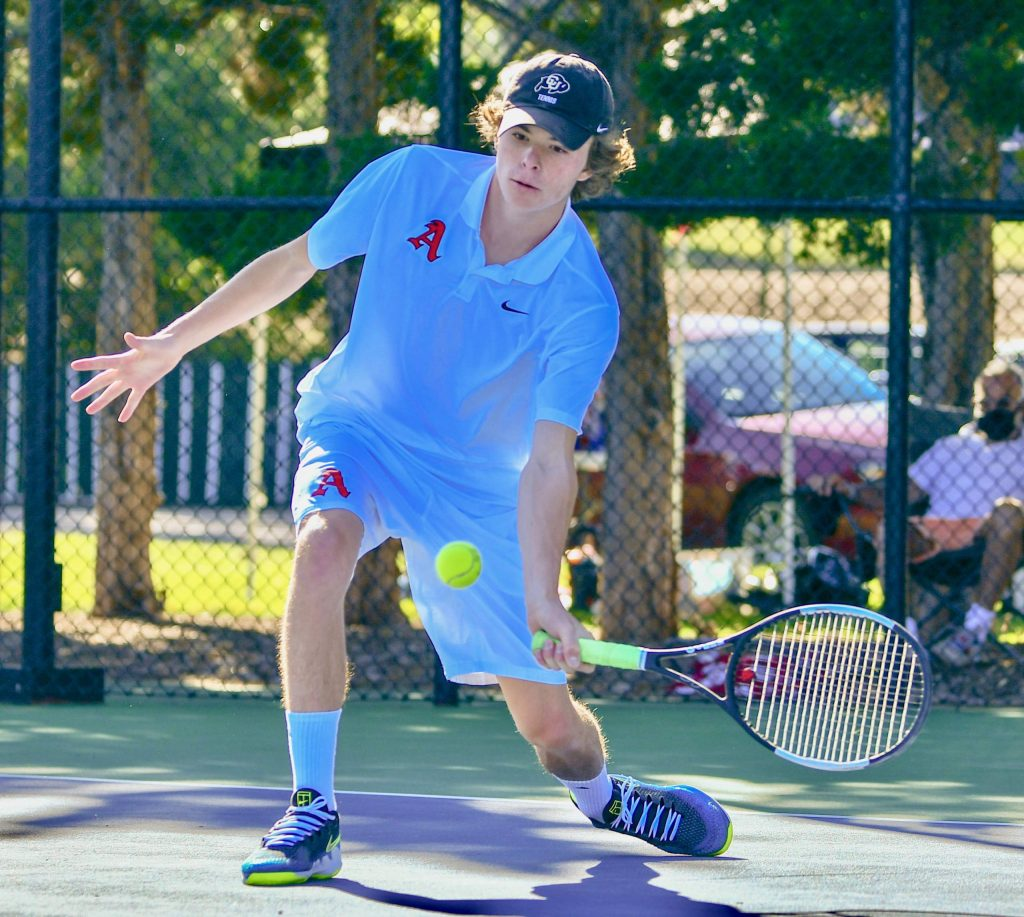 Aspen High School's Alex Mosher competes at the Class 4A state tennis tournament on Friday, Sept. 25, 2020, in Pueblo.