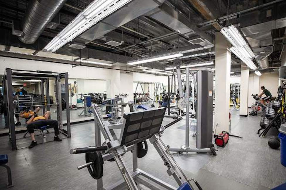 The newly remodeled weight lifting area in the Aspen Rec Center in 2019.
