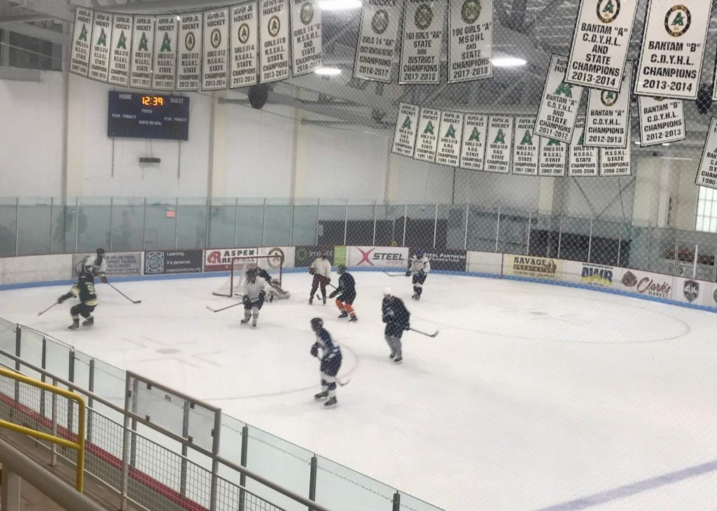 Aspen Junior Hockey players get some ice time at Lewis Ice Arena.