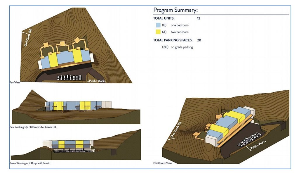 A basic schematic design for potential housing adjacent to the town public works administration offices.