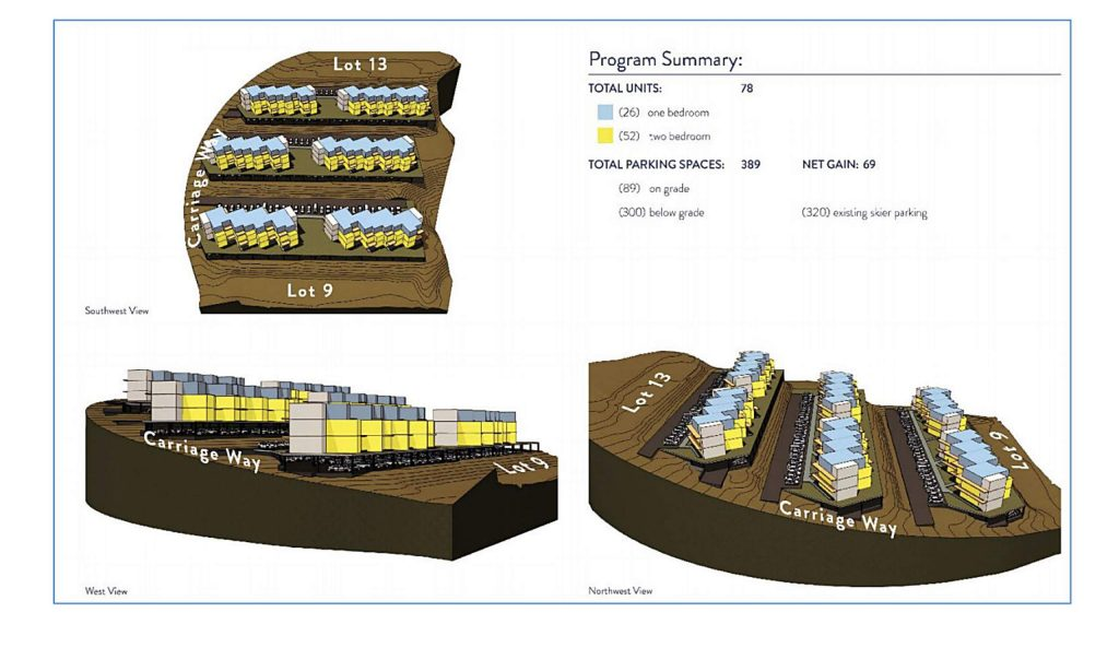 A basic schematic design for potential housing in the upper numbered lots area above the Snowmass Mall.