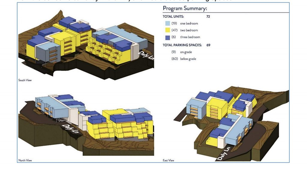 A basic schematic design for potential housing in the Daly Lane and Snowmass Inn area.
