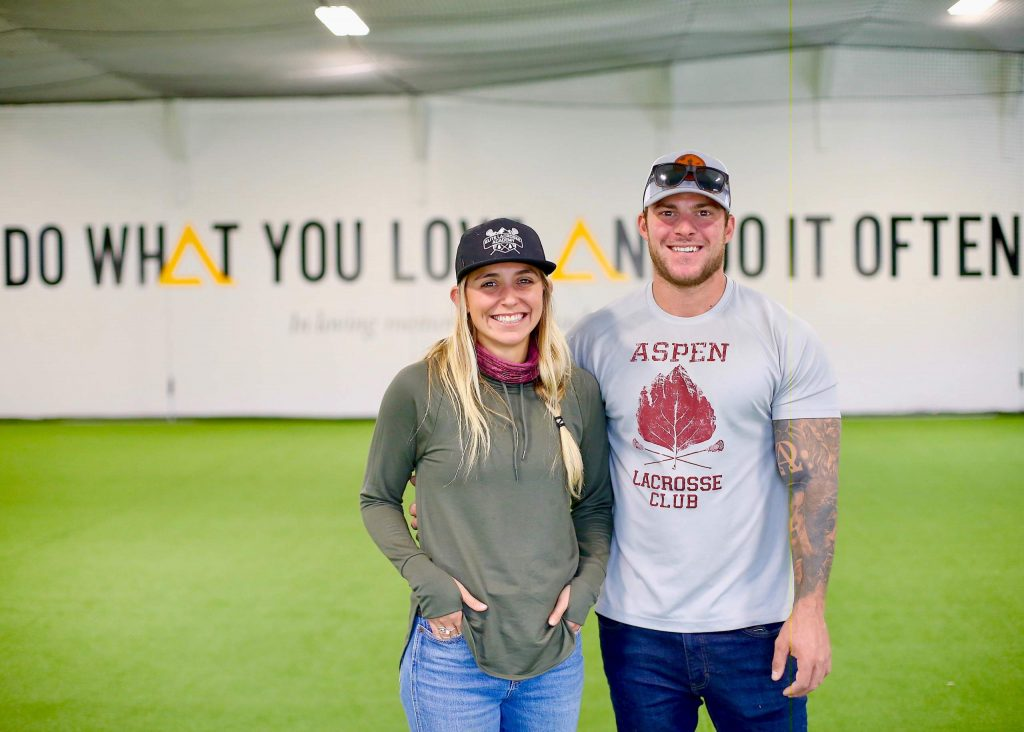 Aspen High School lacrosse coaches Amanda Trendell, left, and Tommy Cox are ready to open Elite Performance Academy, seen here on Monday, Sept. 21, 2020, a new indoor athletic training facility near Carbondale that is scheduled to open Oct. 1, 2020. (Photo by Austin Colbert/The Aspen Times)