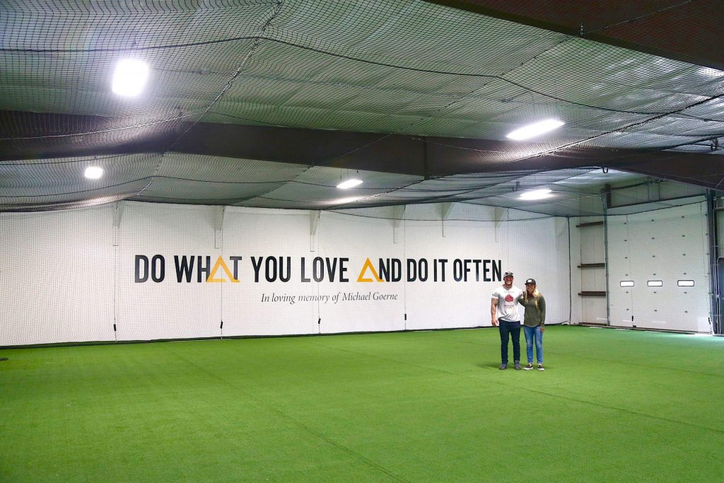 Aspen High School lacrosse coaches Amanda Trendell, right, and Tommy Cox are ready to open Elite Performance Academy, seen here on Monday, Sept. 21, 2020, a new indoor athletic training facility near Carbondale that is scheduled to open Oct. 1, 2020. (Photo by Austin Colbert/The Aspen Times)