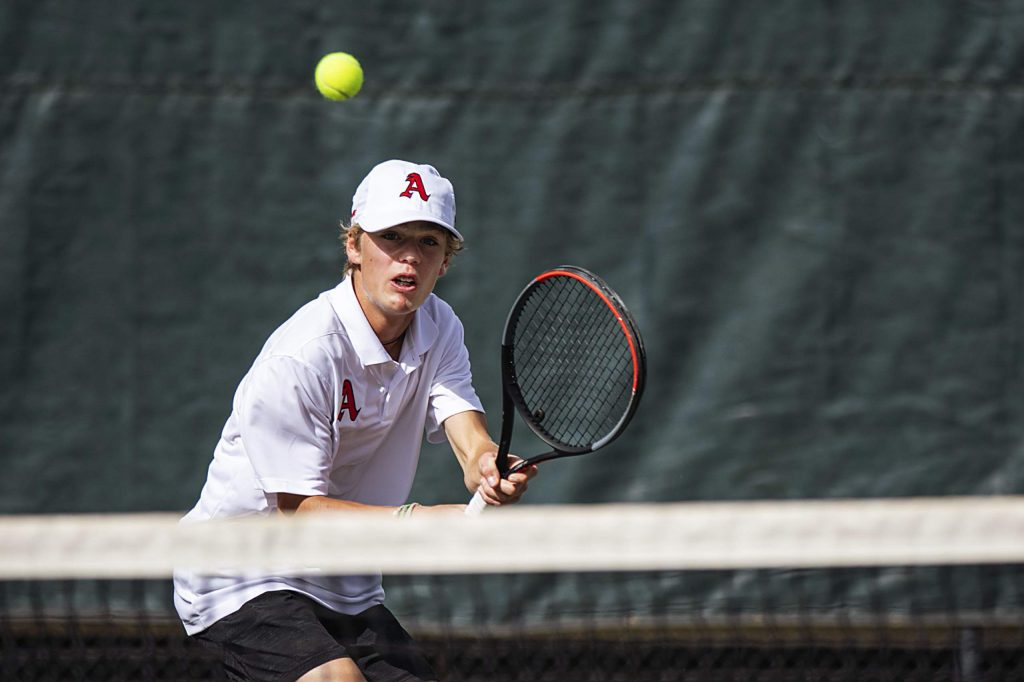 Aspen High School's Chase Kelly competes at No. 3 singles against Basalt on Monday, Sept. 14, 2020, at Aspen Tennis Club. (Kelsey Brunner/The Aspen Times)