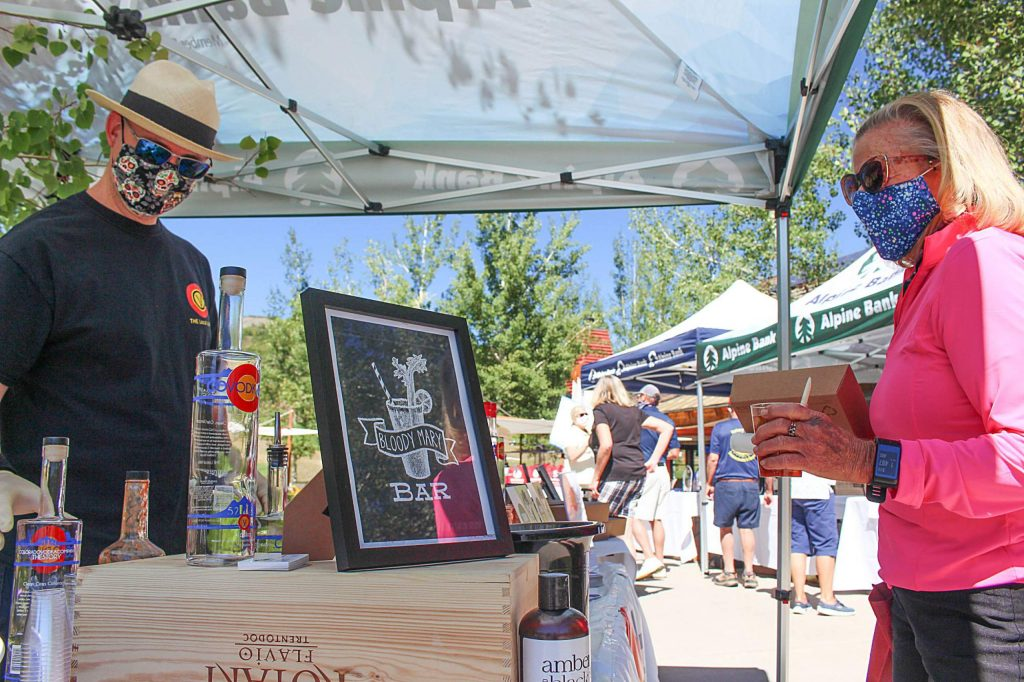 A Bloody Mary Bar featuring Colorado Vodka Company serves locals at the Snowmass Wine and Golf Festival, Sept. 3, 2020.