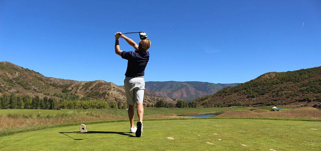 A golfer tees off during the Snowmass Wine and Golf Festival Sept. 3, 2020. A spin-off of Snowmass Rotary's annual wine festival, the wine and golf festival aimed to show people a good time and still raise money for local nonprofits while keeping people socialy distanced and safe amid the COVID-19 crisis.