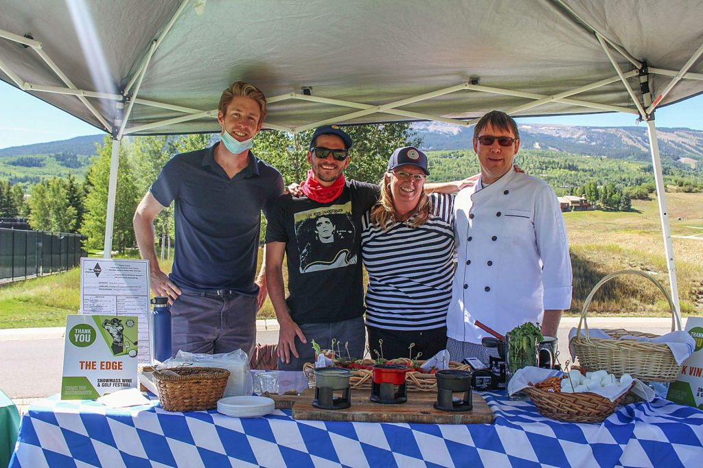 A culinary team from The Edge poses for a photo during the Snowmass Wine and Golf Festival Sept. 3, 2020. The team served up fondue for golfers at Hole 10.