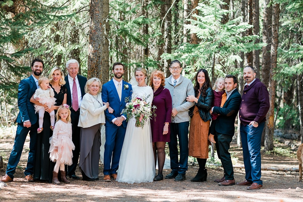 Groom Geoffrey Smith and bride Karen Morian with loved ones on their October 3, 2020, wedding day.