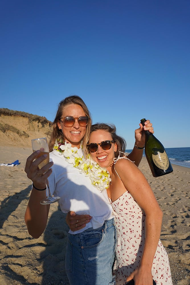 Celebrating with champagne!