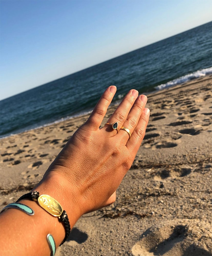 The bride-to-be admiring her brand new ring!