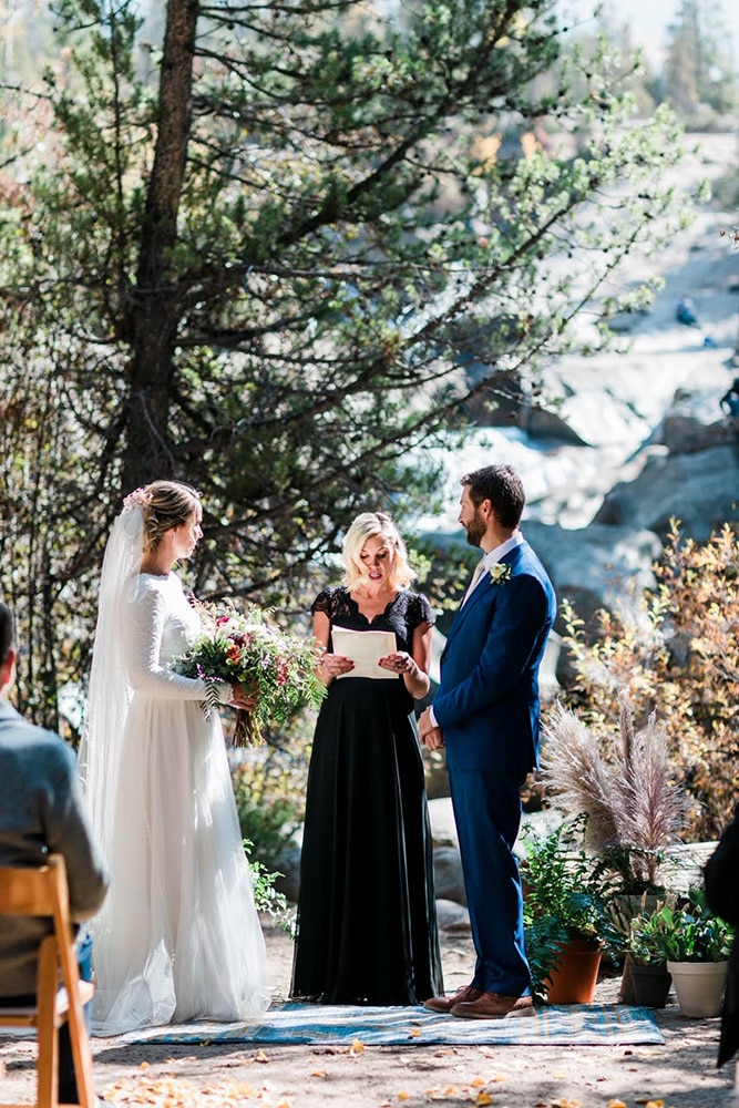 The sister of the groom served as their wedding officiant.