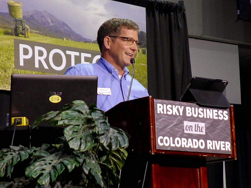 Colorado River Water Conservation District general manager Andy Mueller speaks at the district's annual seminar in 2018. Mueller said the district has evolved to treat all water users equally, which means also advocating for projects that keep water in the river.