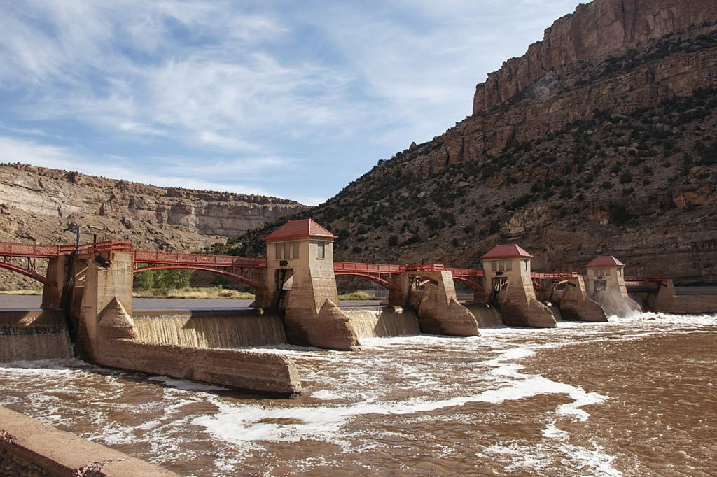 """The Grand River Diversion Dam, also known as the """"Roller Dam"""", was built in 1913 to diver water from the Colorado River to the Government Highline Canal that farmers use to irrigate their lands in Grand County."""
