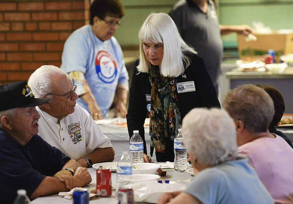 US Congress candidate Diane Mitsch Bush talks with supporters at the United Steelworkers of America Local #2102 on Sept. 21, 2018.