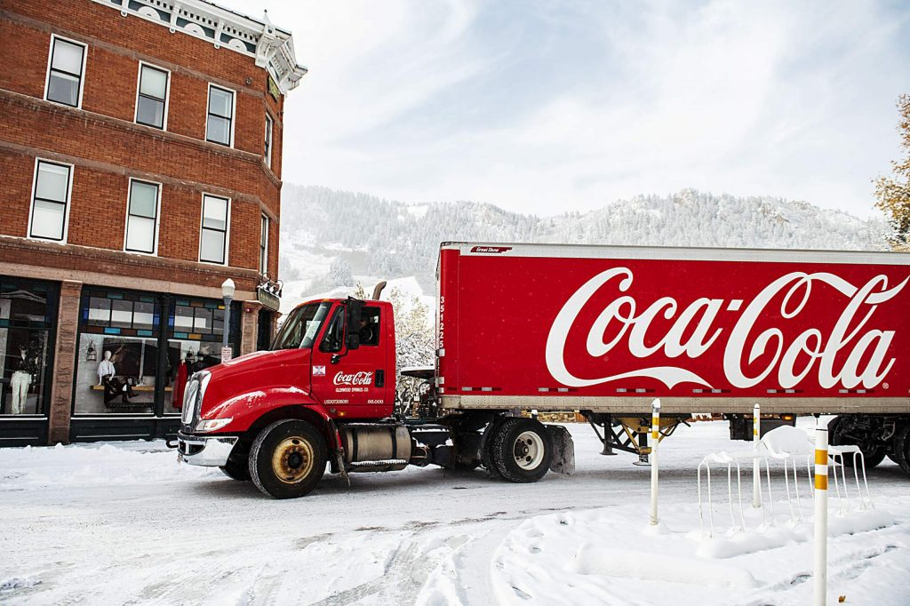 A Coca-Cola delivery truck drives through downtown Aspen on Monday, Oct. 26, 2020.