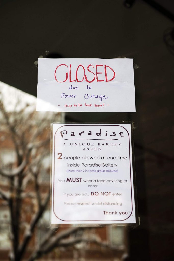 Paradise bakery closed to customers during the power outage in Aspen on Monday, Oct. 26, 2020.