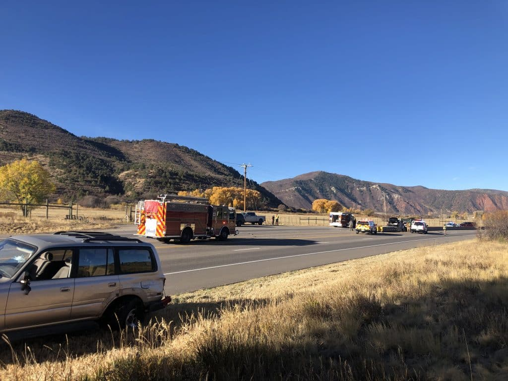 Crews respond to a multiple vehicle crash on Highway 82 in Basalt on Wednesday morning. Highway 82 is currently closed in both directions due to the crash.