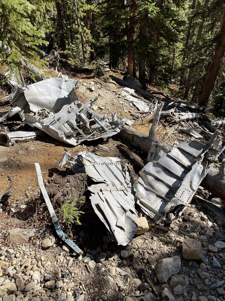 The site from earlier this month of the plane crash wreckage just to the east of the Continental Divide.