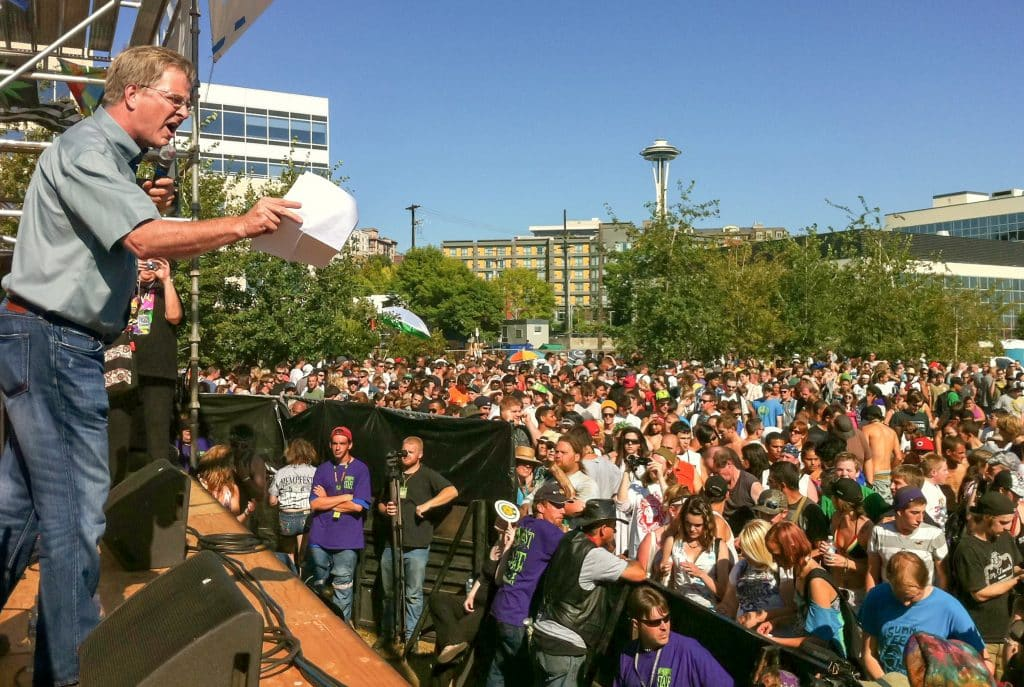 Rick Steves addresses the crowd at Seattle Hempfest in 2011.